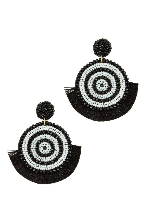 Seed Beads and Glass Earring with Tassel