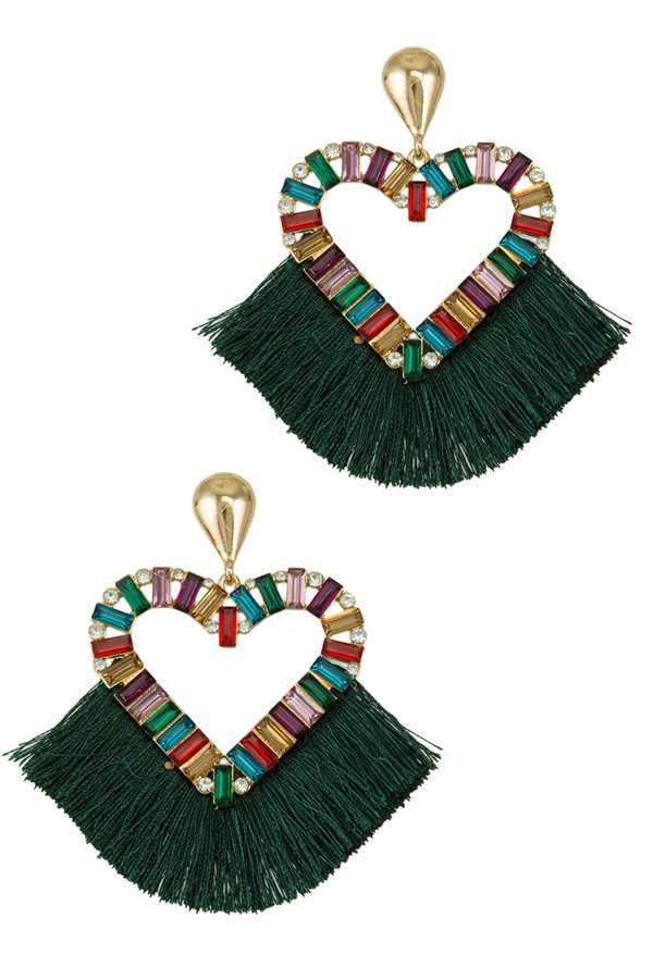Crystal Heart with Tassel Charm Earring