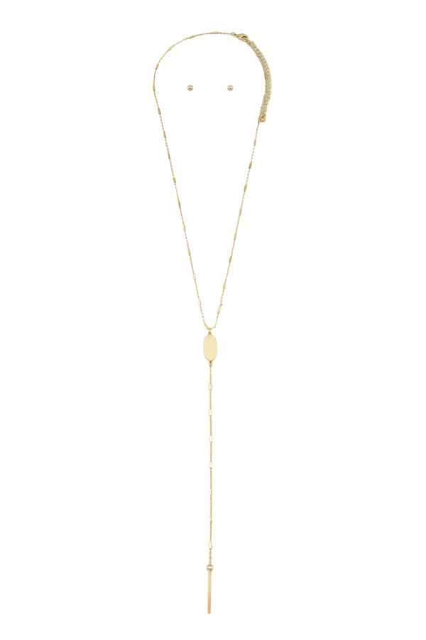 Oval Metal Accent Lariat Necklace