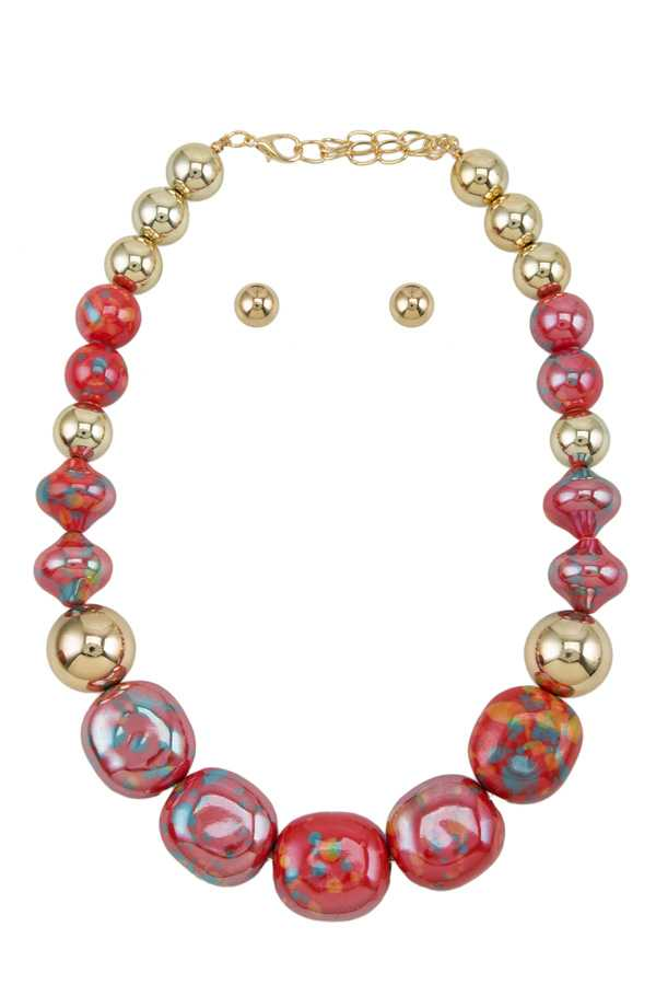 Mixed Ball Linked Statement Necklace