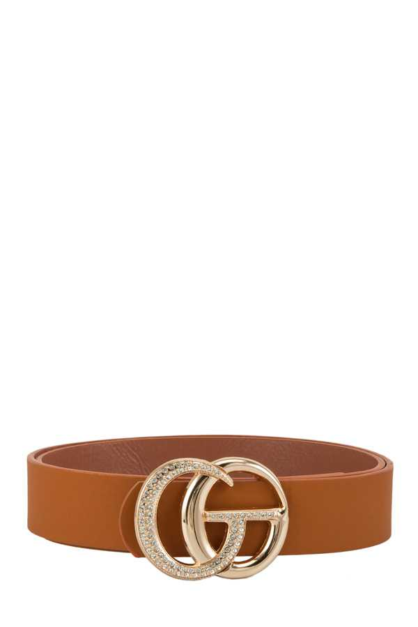 Stone Accent GO Buckle Pu Belt