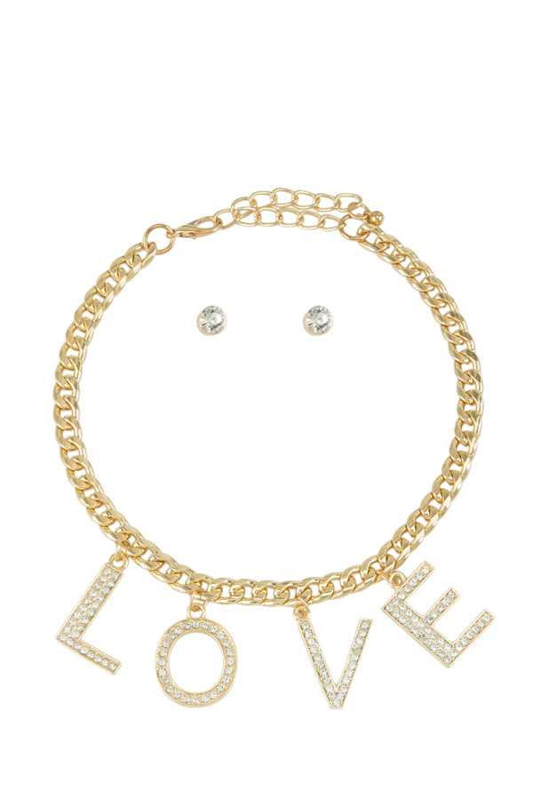 LOVE Charm Collar Chain Necklace