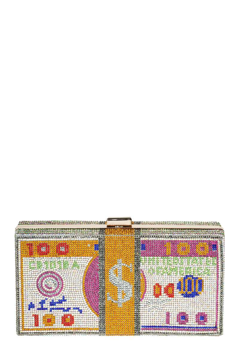 Stack of Cash Dollar Clutch with Full Rhinestone Paved