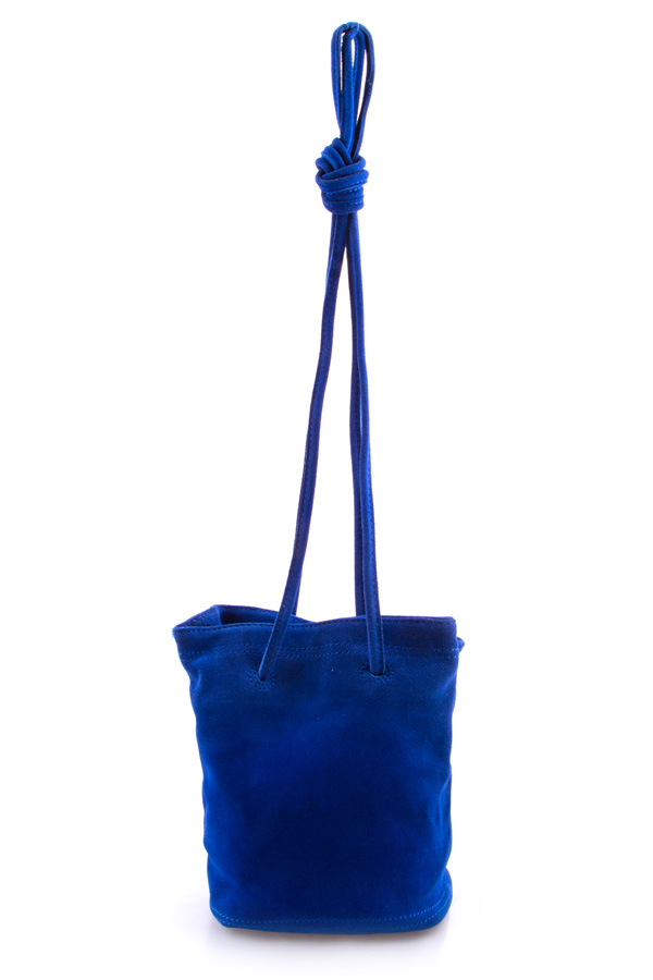 Genuine suede bucket cross body bag