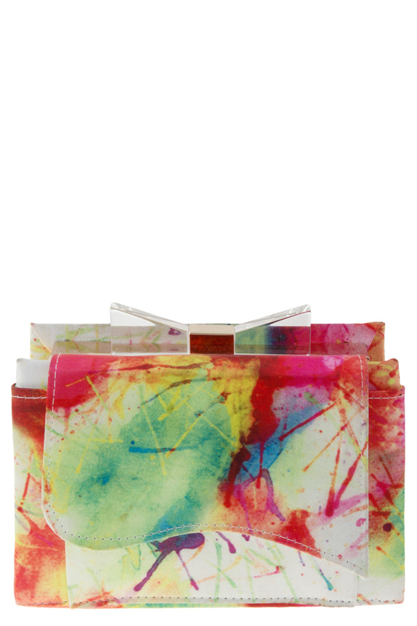 WATERCOLOR PRINT BOX CLUTCH