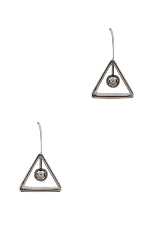 Tiny ball in empty triangle drop earrings