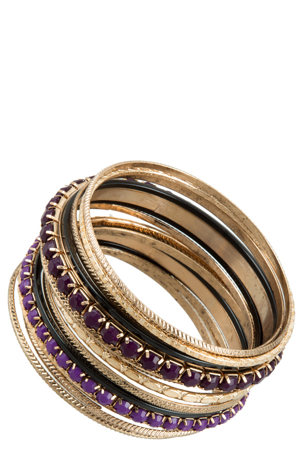 Purple Accent Multi Layered Bangle Bracelet