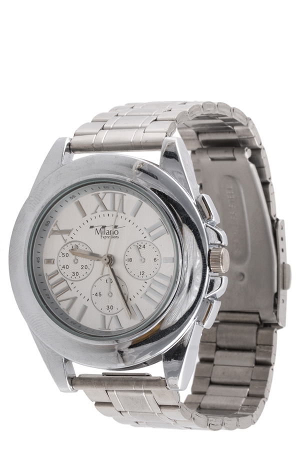 Roman number stainless steel watch