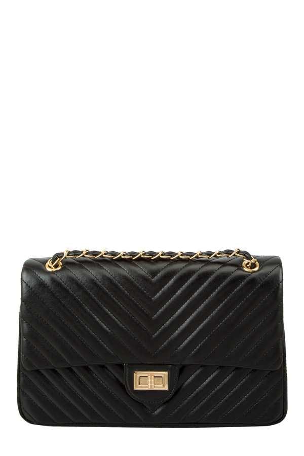 V Quilted Shoulder Bag