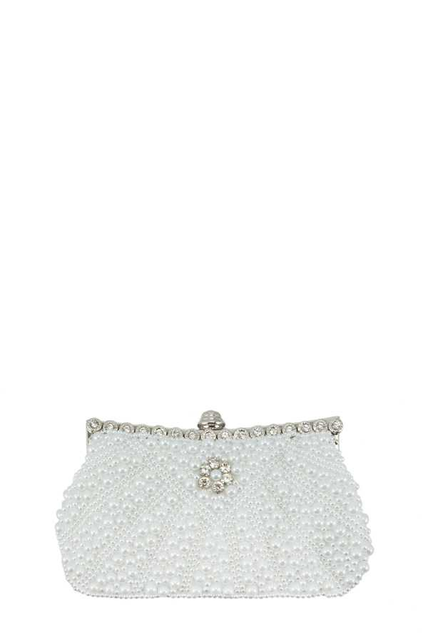 Pearl Ball Pave Clutch with Stone Decorated