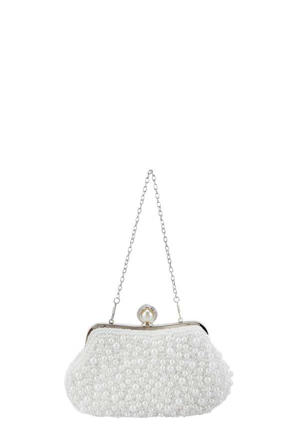 Pearl Ball Pave Clutch with Pearl Handle