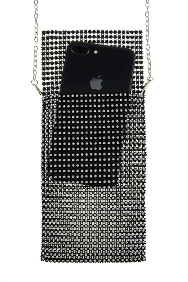 Rhinestone Mesh Phone Crossbody Bag