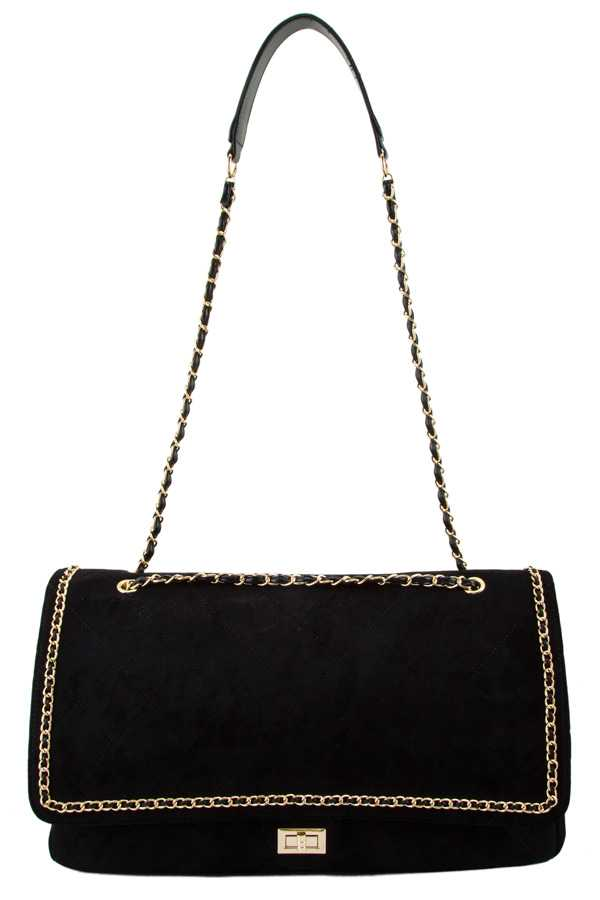 Velvet Texture Large Shoulder Bag with Chain Accent