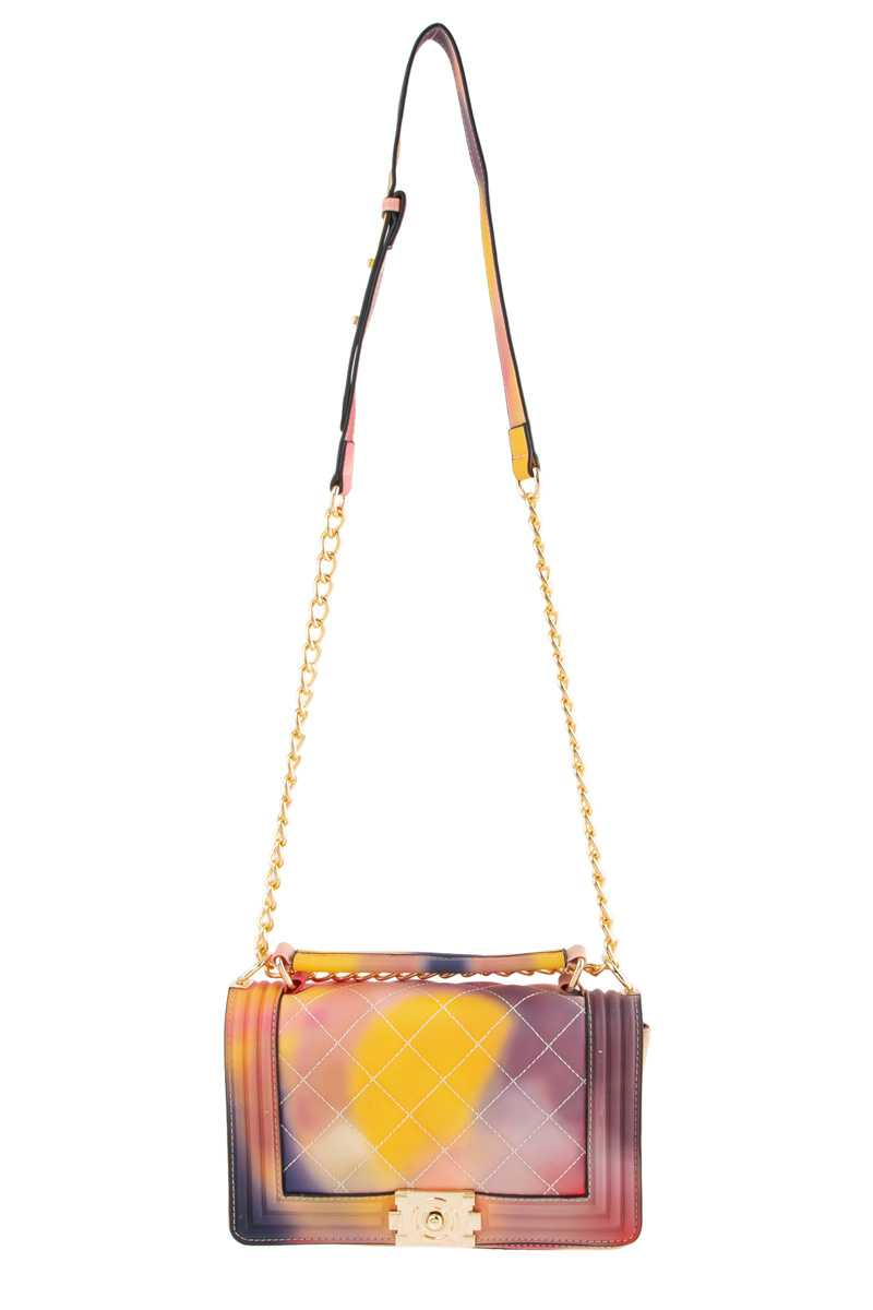 Tie Dye Quilted Rectangular Shoulder Bag