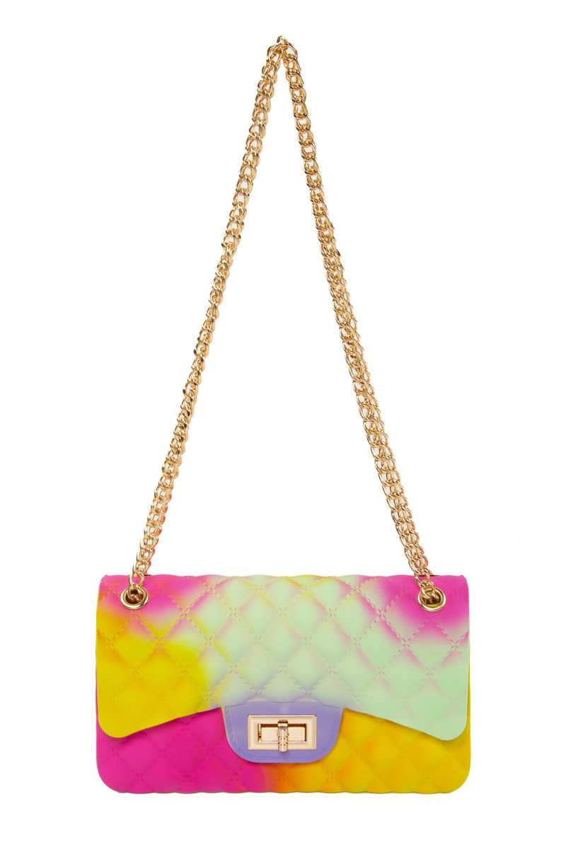 Quilted Pattern Jelly Crossbody Bag