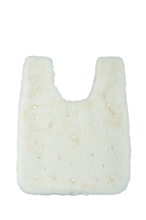 Pearl Studded Furry Shopping Bag