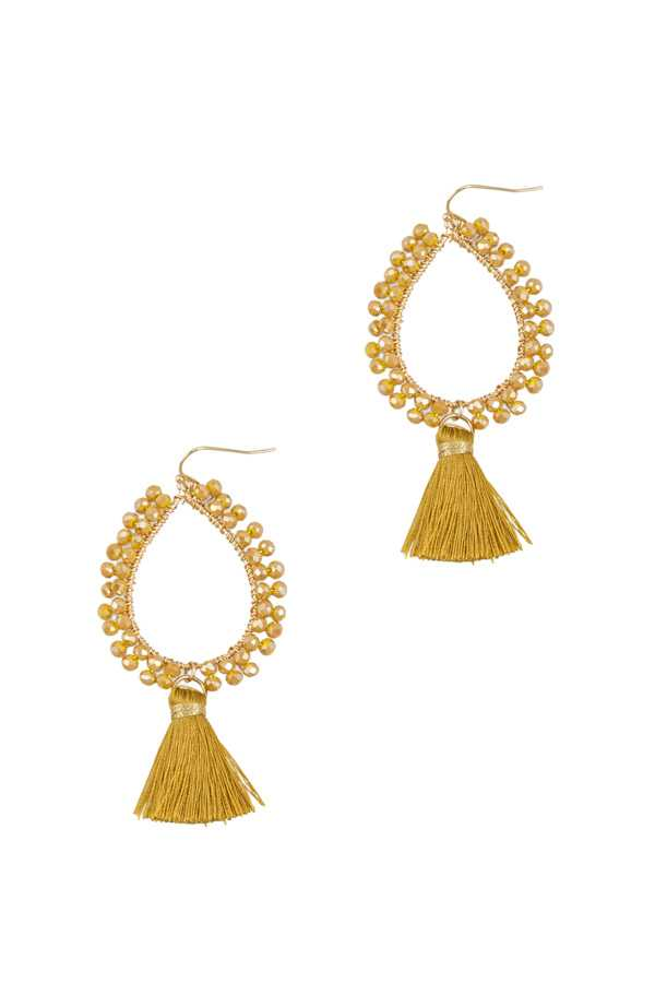 Beaded Teardrop Earrings with Short Tassel
