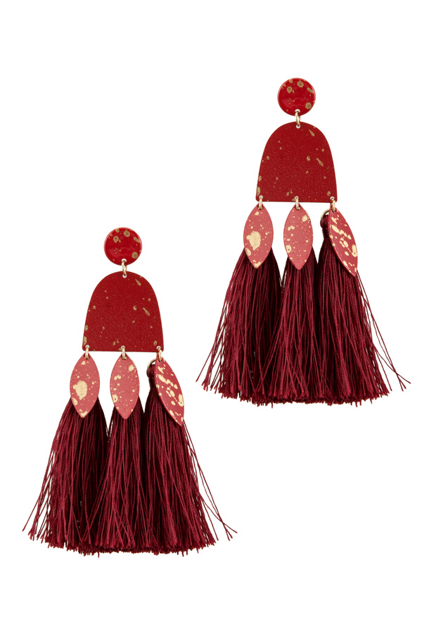 Color Patina Metal with Tassel Earring