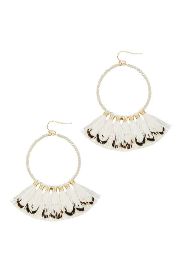 Round Glass Earring with Tassel Feather