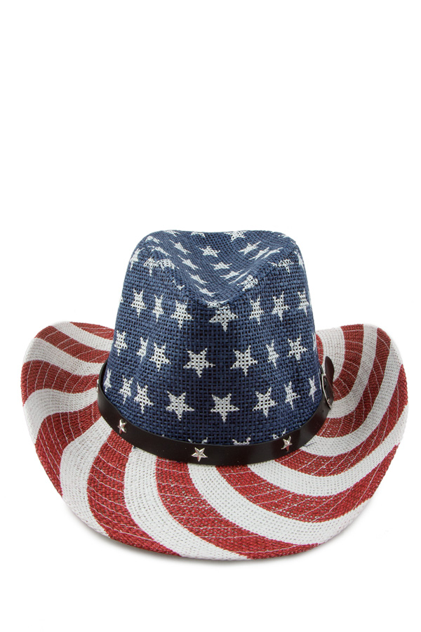 American flag with belt accent cowboy hat