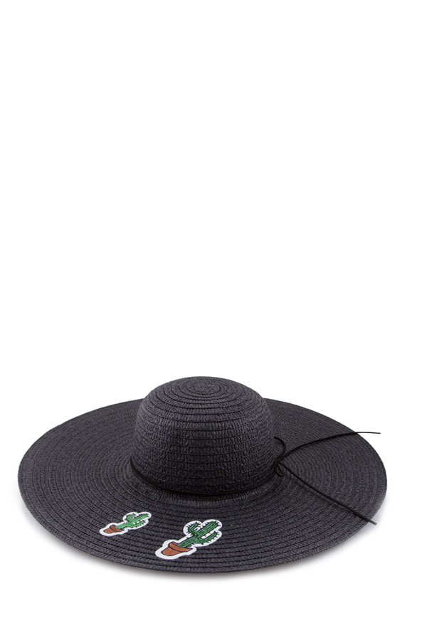 Patched cactus straw hat