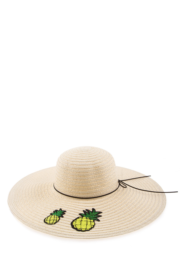 Patched pineapple straw hat