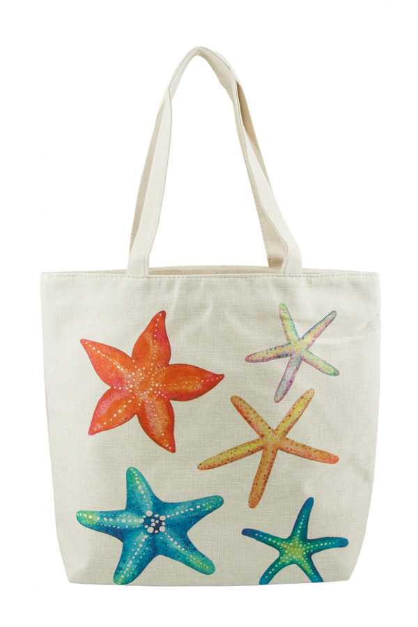 Multi Color Starfish Print Tote Bag