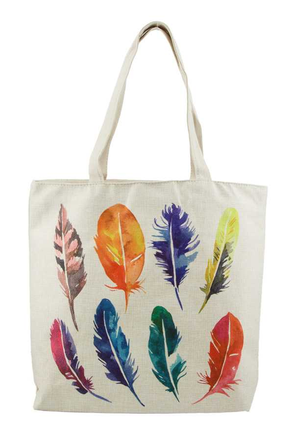 Multi Color Feather Print Tote Bag