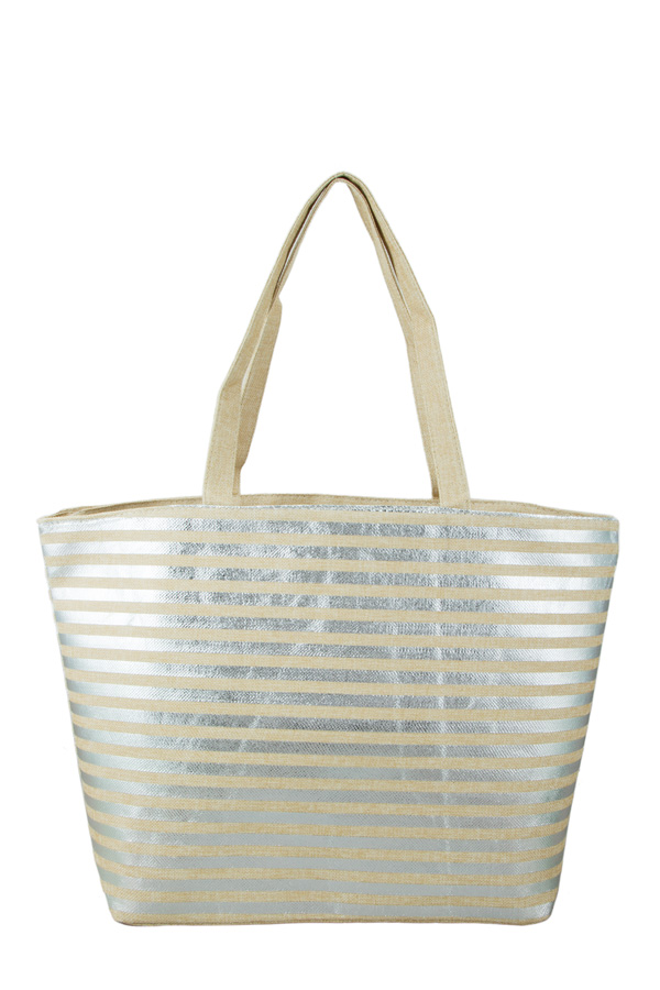 Metallic Stripe Tote Bag