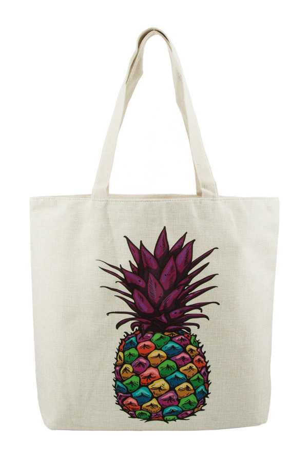 Multi Color Pineapple Print Tote Bag