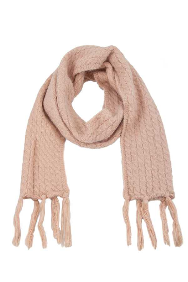 Fuzzy Solid Oblong Soft Scarf with Tassel