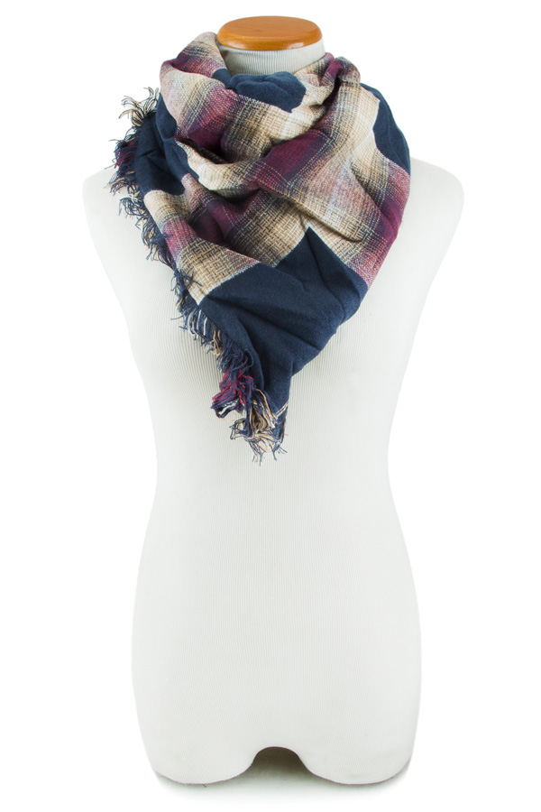 Double Layer Border Plaid Scarf