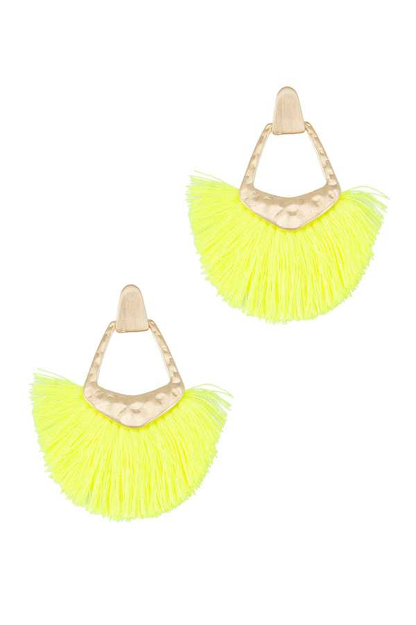 Metal with Fan Tassel Stud Earring