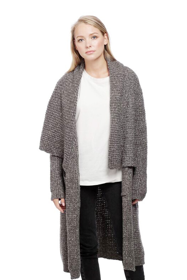 Draped collar long cardigan
