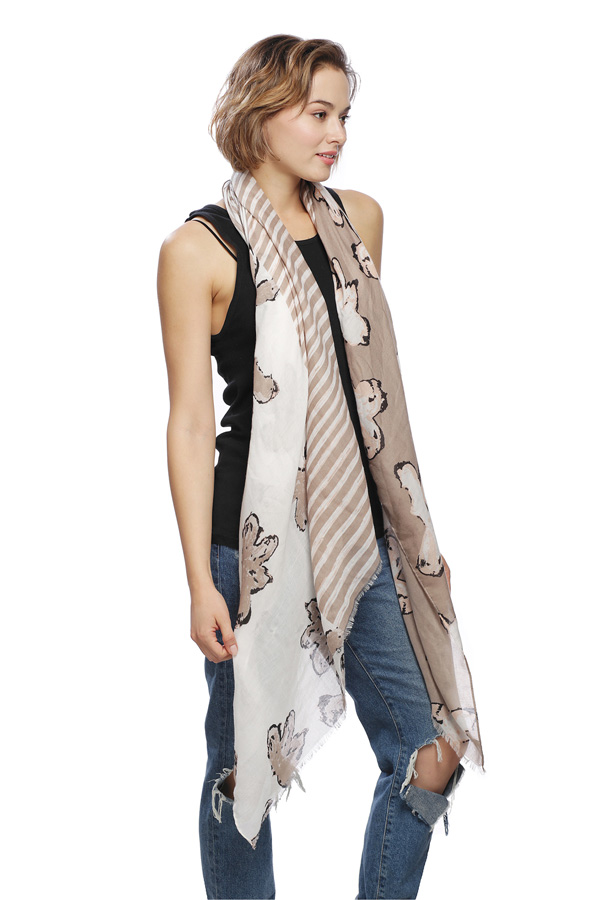 Floral and Stripe Print Viscose Oblong Scarf