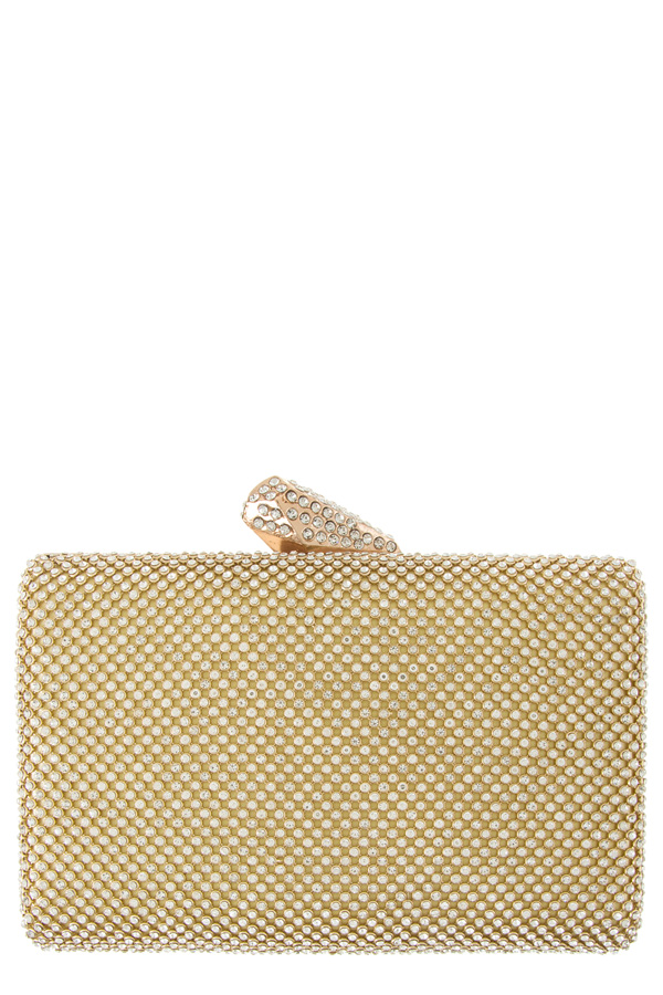 Faceted and paved lock rhinestone paved clutch bag