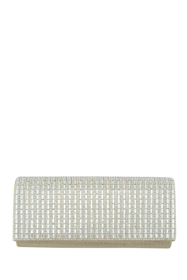 Rectangle Crystal and Rhinestone Paved Clutch Bag