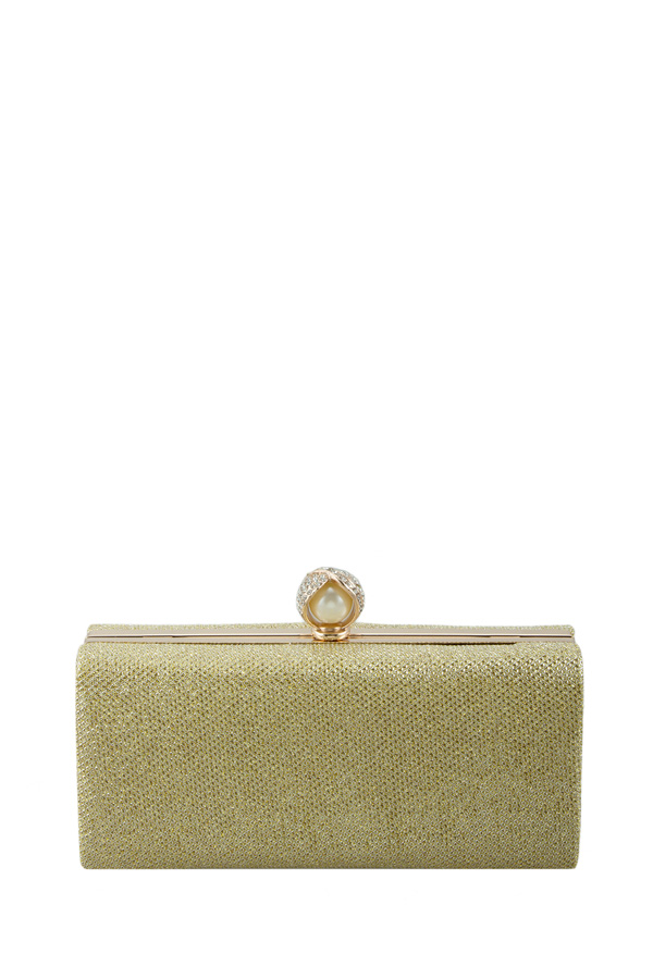 Faceted and paved rhinestone clutch bag
