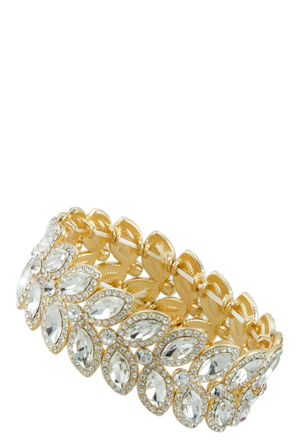 Oval Crystal and Rhinestone Pave Stretch Bracelet