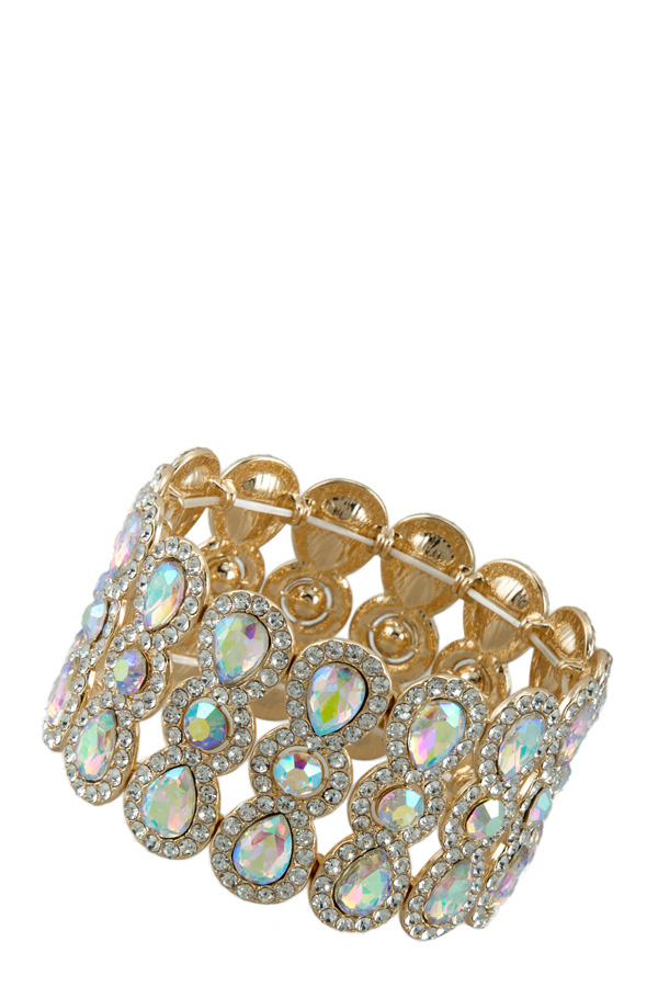 Crystal and Rhinestone Pave Stretch Bracelet