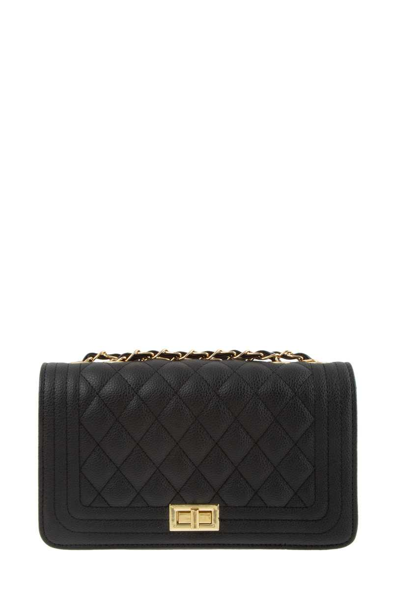 Diamond Quilted Faux Leather Shoulder Bag