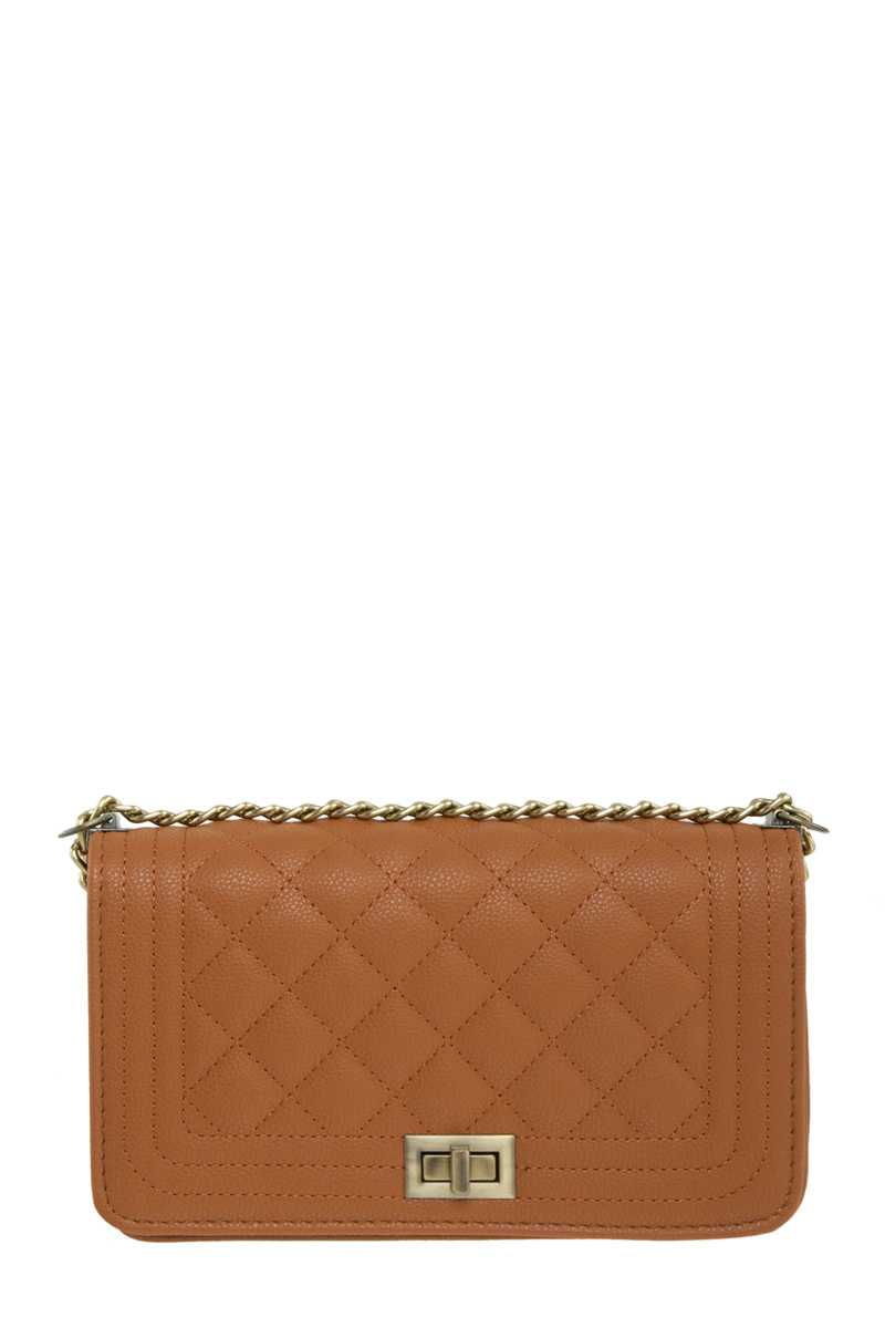 Diamond Quilted Shoulder Bag with Brushed Chain