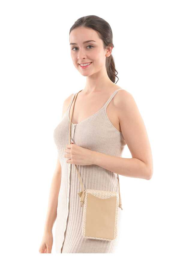 Mini Straw Bag with Shoulder Strap