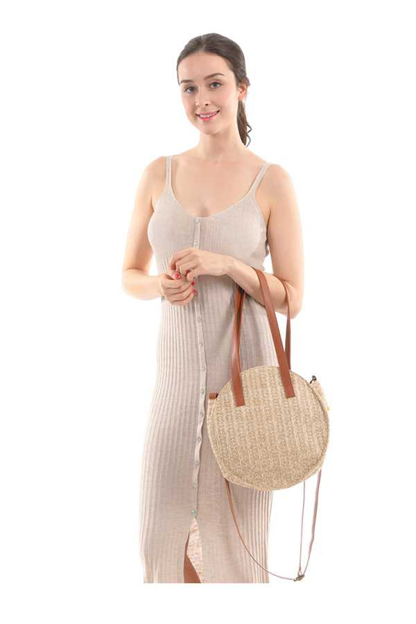 Round Straw Bag with Shoulder Strap