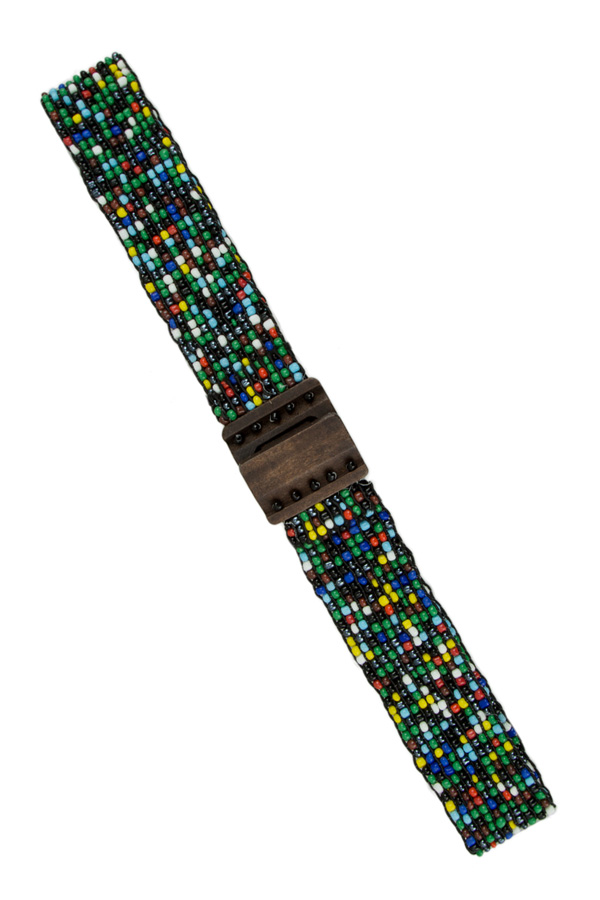 Beaded Stretch Wooden Buckle Belt