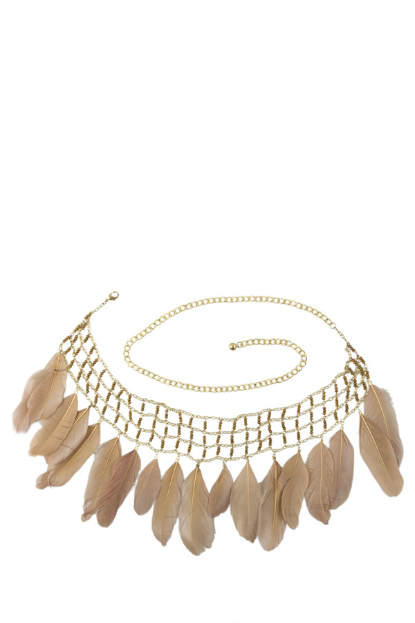 Feather Dangle Metal Net Belt396.jpg