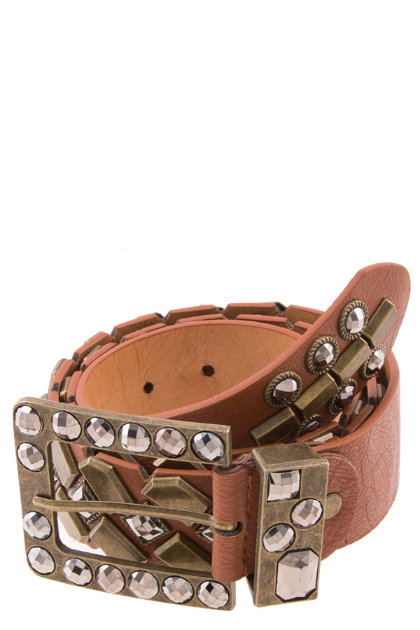 Faceted studs gypsy faux leather belt