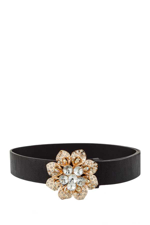 Flower Stone Buckle PU Belt