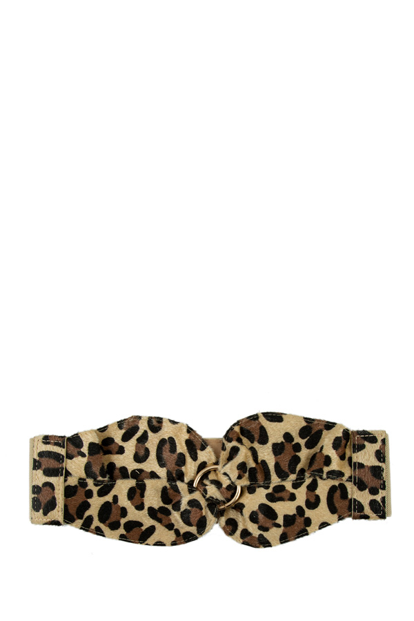 Leopard Print Faux Fur with Ring Elastic Belt