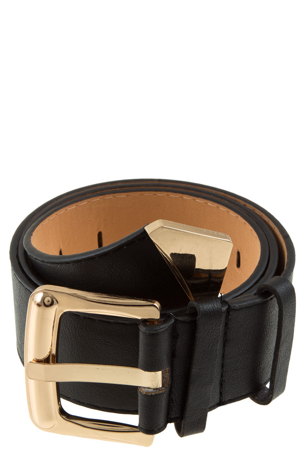 Faux leather metal point end belt